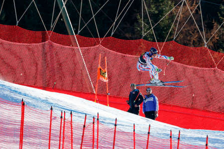 gardena: Val Gardena, Italy 19 December 2015.  Giraud Moine Valentin (Fra) competing in the Audi Fis Alpine Skiing World Cup Mens Downhill Race on the Saslong Course in the dolomite mountain rang Editorial