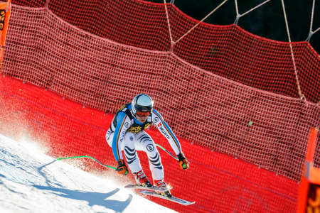 gardena: Val Gardena, Italy 19 December 2015.  Sander Andreas (Ger) competing in the Audi Fis Alpine Skiing World Cup Mens Downhill Race on the Saslong Course in the dolomite mountain rang Editorial