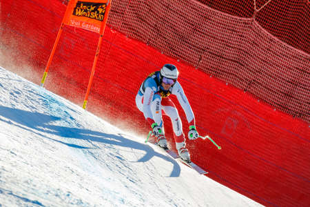 gardena: Val Gardena, Italy 19 December 2015.  Gisin Marc (Sui) competing in the Audi Fis Alpine Skiing World Cup Mens Downhill Race on the Saslong Course in the dolomite mountain rang