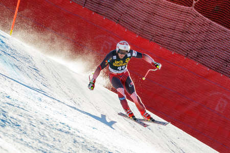 gardena: Val Gardena, Italy 19 December 2015. ZRNCIC DIM Natko (Cro) competing in the Audi Fis Alpine Skiing World Cup Mens Downhill Race on the Saslong Course in the dolomite mountain rang