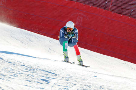 fis: Val Gardena, Italy 19 December 2015. Casse Mattia (Ita) competing in the Audi Fis Alpine Skiing World Cup Mens Downhill Race on the Saslong Course in the dolomite mountain range. Editorial