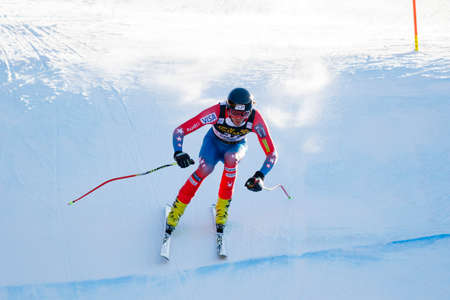 bennett: Val Gardena, Italy 19 December 2015.  Bennett Bryce (Usa) competing in the Audi Fis Alpine Skiing World Cup Mens Downhill Race on the Saslong Course in the dolomite mountain rang