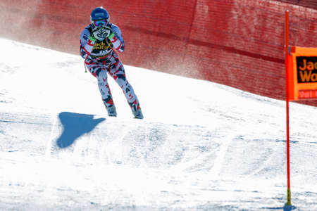 fis: Val Gardena, Italy 19 December 2015. Baumann Romed (Aut) competing in the Audi Fis Alpine Skiing World Cup Mens Downhill Race on the Saslong Course in the dolomite mountain range. Editorial