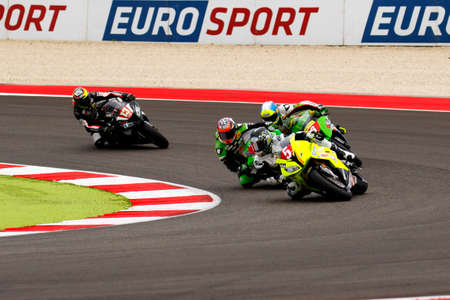 tr: Misano Adriatico, Italy - June 20, 2015: BMW S1000 RR of Tr Corse Team, driven by DUWELZ Gauthier in action during the Superstock 1000 Qualifying during the FIM Superstock 1000 - race at Misano World Circuit on June 20, 2015 in Misano Adriatico, Italy. Editorial