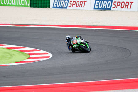 wagner: Misano Adriatico, Italy - June 20, 2015: Kawasaki ZX-10R of Pedercini Team, driven by WAGNER Aiden in action during the Superstock 1000 Qualifying during the FIM Superstock 1000 - race at Misano World Circuit on June 20, 2015 in Misano Adriatico, Italy.