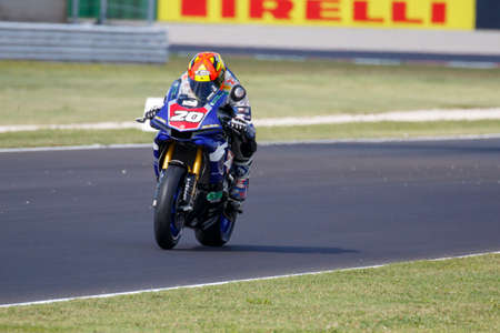 adriatico: Misano Adriatico, Italy - June 20, 2015: Yamaha YZF R1 of G.M. Racing Team, driven by BARRIER Sylvain in action during the Superstock 1000 Free Practice 3 during the FIM Superstock 1000 - race at Misano World Circuit on June 20, 2015 in Misano Adriatico,  Editorial