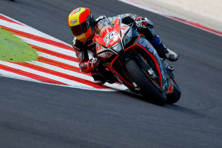 adriatico: Misano Adriatico, Italy - June 20, 2015: Aprilia RSV4 RF of Nuova M2 Racing Team, driven by CALIA Kevin in action during the Superstock 1000 Free Practice 3 during the FIM Superstock 1000 - race at Misano World Circuit on June 20, 2015 in Misano Adriatico Editorial