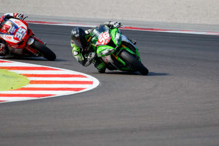 adriatico: Misano Adriatico, Italy - June 20, 2015: Kawasaki ZX-10R of Team Pedercini, driven by SEBESTYEN Peter in action during the Superstock 1000 Free Practice 3 during the FIM Superstock 1000 - race at Misano World Circuit on June 20, 2015 in Misano Adriatico,