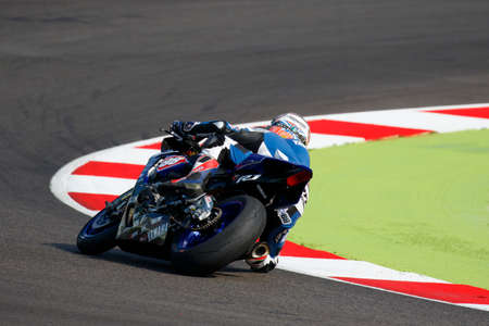 adriatico: Misano Adriatico, Italy - June 20, 2015: Yamaha YZF R1 of MRS Yamaha Team, driven by COGHLAN Kev in action during the Superstock 1000 Free Practice 3 during the FIM Superstock 1000 - race at Misano World Circuit on June 20, 2015 in Misano Adriatico, Italy