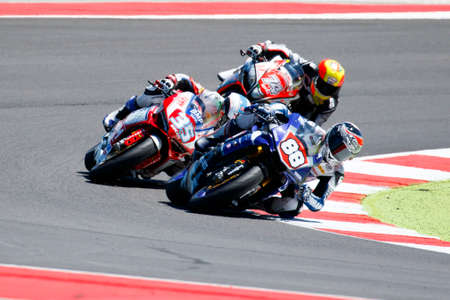 mrs: Misano Adriatico, Italy - June 21, 2015: Yamaha YZF R1 of MRS Yamaha Team, driven by COGHLAN Kev in action during the Superstock 1000 Race during the FIM Superstock 1000 - race at Misano World Circuit on June 21, 2015 in Misano Adriatico, Italy. Editorial