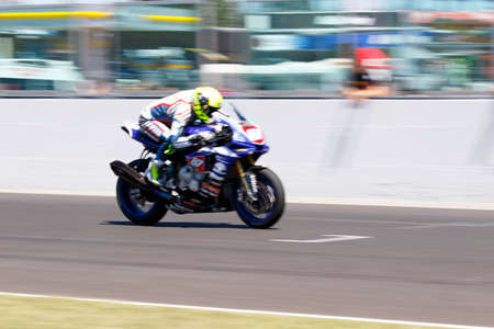 adriatico: Misano Adriatico, Italy - June 21, 2015: Yamaha YZF R1 of Team Trasimeno, driven by MARCONI Luca in action during the Superstock 1000 Race during the FIM Superstock 1000 - race at Misano World Circuit on June 21, 2015 in Misano Adriatico, Italy.