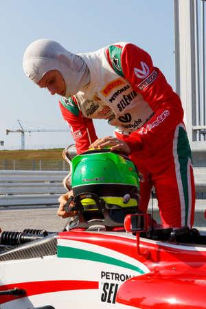 powered: Misano Adriatico, Italy - April 10, 2016: A Tatuus F4 T014 Abarth of Prema Power Team team, driven by Schumacher Mick,  the Italian F4 Championship Powered by Abarth in Misano World Circuit, in Misano Adriatico, Italy.