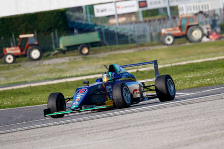 adriatico: Misano Adriatico, Italy - April 10, 2016: A Tatuus F4 T014 Abarth of RB Racing Team, driven by Bertonelli Diego,  the Italian F4 Championship Powered by Abarth in Misano World Circuit, in Misano Adriatico, Italy.