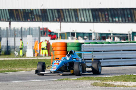 powered: Misano Adriatico, Italy - April 10, 2016: A Tatuus F4 T014 Abarth of Jenzer Motorsport Team, driven by Siebert Marcos,  the Italian F4 Championship Powered by Abarth in Misano World Circuit, in Misano Adriatico, Italy. Editorial