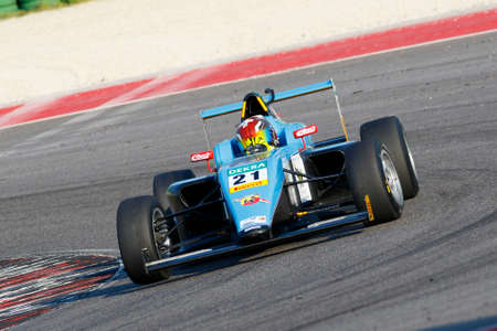 adriatico: Misano Adriatico, Italy - April 10, 2016: A Tatuus F4 T014 Abarth of Jenzer Motorsport Team, driven by Scherer Fabio,  the Italian F4 Championship Powered by Abarth in Misano World Circuit, in Misano Adriatico, Italy.