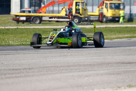 powered: Misano Adriatico, Italy - April 10, 2016: A Tatuus F4 T014 Abarth of Antonelli Motorsport Team, driven by Vieira Queiroz Joao Ricardo,  the Italian F4 Championship Powered by Abarth in Misano World Circuit, in Misano Adriatico, Italy.