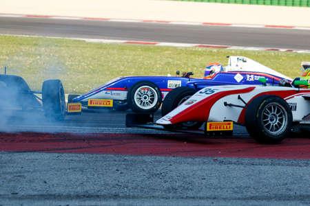 adriatico: Misano Adriatico, Italy - April 10, 2016: A Tatuus F4 T014 Abarth of GSK Grand Prix Team, driven by Bonduel Amaury,  the Italian F4 Championship Powered by Abarth in Misano World Circuit, in Misano Adriatico, Italy.