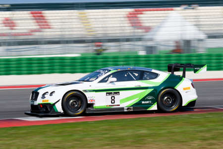 adriatico: Misano Adriatico, Italy - April 10, 2016: Bentley Continental GT3 of Bentley Team M-Sport, driven by Maxime Soulet and Andy Soucek,  the Blancpain GT Series Sprint Cup in Misano World Circuit.