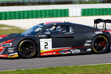 leonard: Misano Adriatico, Italy - April 10, 2016: Audi R8 LMS of Belgian Audi Club Team WRT, driven by Stuart Leonard and Michael Meadows,  the Blancpain GT Series Sprint Cup in Misano World Circuit.
