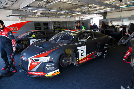 gt: Misano Adriatico, Italy - April 10, 2016: Audi R8 LMS of Belgian Audi Club Team WRT, driven by Stuart Leonard and Michael Meadows,  the Blancpain GT Series Sprint Cup in Misano World Circuit.