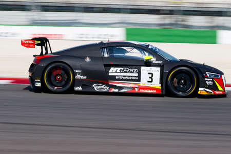 gt: Misano Adriatico, Italy - April 10, 2016: Audi R8 LMS of Belgian Audi Club Team WRT, driven by Rodrigo Baptista and Filipe Albuquerque,  the Blancpain GT Series Sprint Cup in Misano World Circuit. Editorial