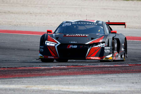 gt: Misano Adriatico, Italy - April 10, 2016: Audi R8 LMS of Belgian Audi Club Team WRT, driven by Dries Vanthoor and Robin Frijns,  the Blancpain GT Series Sprint Cup in Misano World Circuit.