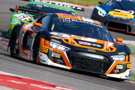 gt: Misano Adriatico, Italy - April 10, 2016: Audi R8 LMS of Phoenix Racing Team, driven by Nicolaj Møller Madsen and Markus Pommer,  the Blancpain GT Series Sprint Cup in Misano World Circuit.