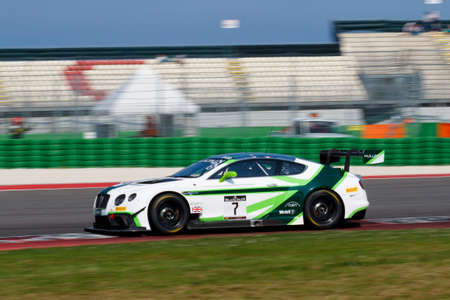 gt3: Misano Adriatico, Italy - April 10, 2016: Bentley Continental GT3 of Bentley Team M-Sport, driven by Vincent Abril and Steven Kane,  the Blancpain GT Series Sprint Cup in Misano World Circuit.