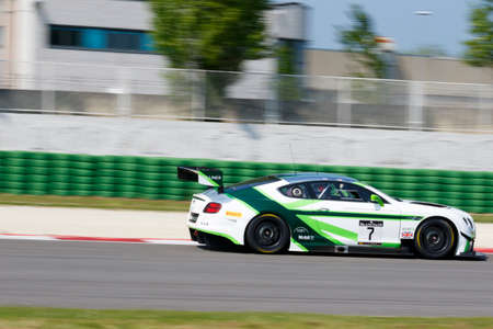 steven: Misano Adriatico, Italy - April 10, 2016: Bentley Continental GT3 of Bentley Team M-Sport, driven by Vincent Abril and Steven Kane,  the Blancpain GT Series Sprint Cup in Misano World Circuit.
