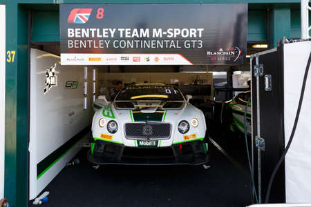 gt3: Misano Adriatico, Italy - April 10, 2016: Bentley Continental GT3 of Bentley Team M-Sport, driven by Maxime Soulet and Andy Soucek,  the Blancpain GT Series Sprint Cup in Misano World Circuit.