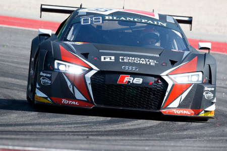 ide: Misano Adriatico, Italy - April 10, 2016: Audi R8 LMS of Belgian Audi Club Team WRT, driven by Enzo Ide and Christopher Mies,  the Blancpain GT Series Sprint Cup in Misano World Circuit.
