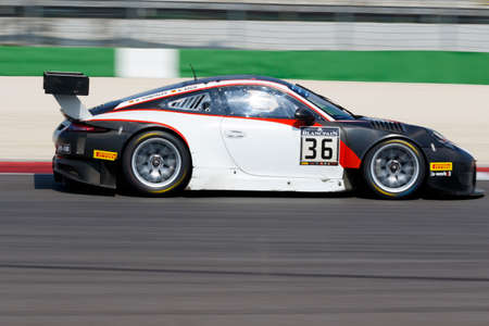 gt3: Misano Adriatico, Italy - April 10, 2016: Porsche 911 GT3 R of Team a-workx Team, driven by Didi Gonzales and Sebastian Asch,  the Blancpain GT Series Sprint Cup in Misano World Circuit.