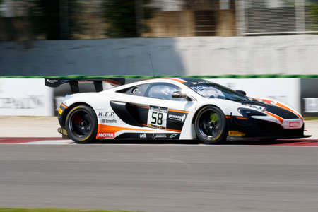 Misano Adriatico, Italy - April 10, 2016: McLaren 650 S GT3 of Garage 59 Team, driven by Rob Bell and Alvaro Parente,  the Blancpain GT Series Sprint Cup in Misano World Circuit.