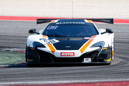 rob: Misano Adriatico, Italy - April 10, 2016: McLaren 650 S GT3 of Garage 59 Team, driven by Rob Bell and Alvaro Parente,  the Blancpain GT Series Sprint Cup in Misano World Circuit.