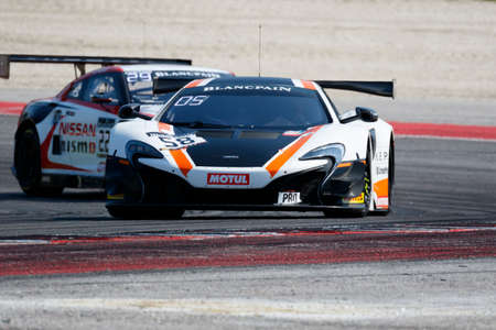 gt3: Misano Adriatico, Italy - April 10, 2016: McLaren 650 S GT3 of Garage 59 Team, driven by Rob Bell and Alvaro Parente,  the Blancpain GT Series Sprint Cup in Misano World Circuit.