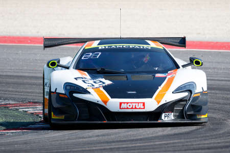 craig: Misano Adriatico, Italy - April 10, 2016: McLaren 650 S GT3 of Garage 59 Team, driven by Martin Plowman and Craig Dolby,  the Blancpain GT Series Sprint Cup in Misano World Circuit. Editorial