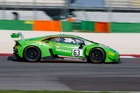 gt: Misano Adriatico, Italy - April 10, 2016: Lamborghini Huracan GT3 of GRT Grasser Racing Team, driven by Mirko Bortolotti and Nicolas Pohler,  the Blancpain GT Series Sprint Cup in Misano World Circuit.
