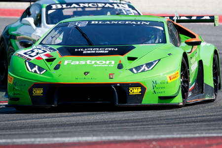lamborghini: Misano Adriatico, Italy - April 10, 2016: Lamborghini Huracan GT3 of GRT Grasser Racing Team, driven by Mirko Bortolotti and Nicolas Pohler,  the Blancpain GT Series Sprint Cup in Misano World Circuit.