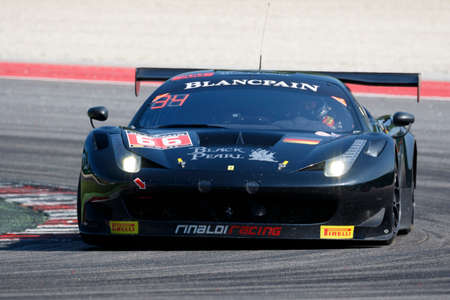 gt: Misano Adriatico, Italy - April 10, 2016: Ferrari 458 Italia GT3 of Black Pearl Racing Team, driven by Christian Hook and Steve Parrow,  the Blancpain GT Series Sprint Cup in Misano World Circuit.