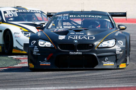 gt3: Misano Adriatico, Italy - April 10, 2016: BMW F13 M6 GT3 of Boutsen Ginion Racing Team, driven by Matias Henkola and Maxime Martin,  the Blancpain GT Series Sprint Cup in Misano World Circuit.