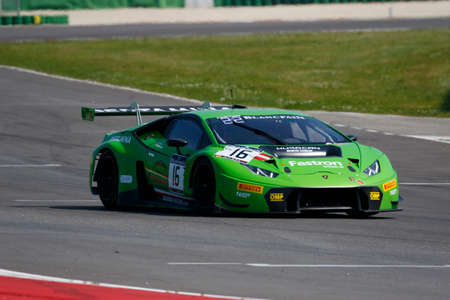 gt3: Misano Adriatico, Italy - April 10, 2016: Lamborghini Huracan GT3 of GRT Grasser Racing Team, driven by Stefan Rosina and  Jeroen Bleekemolen,  the Blancpain GT Series Sprint Cup in Misano World Circuit.