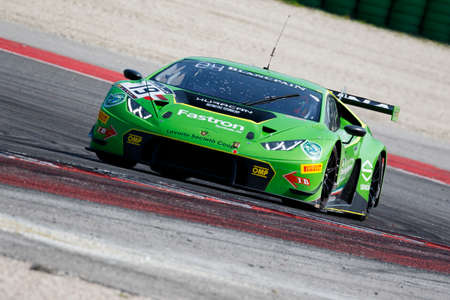 gt3: Misano Adriatico, Italy - April 10, 2016: Lamborghini Huracan GT3 of GRT Grasser Racing Team, driven by Michele Beretta and Luca Stolz,  the Blancpain GT Series Sprint Cup in Misano World Circuit.
