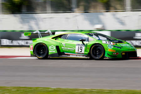 gt: Misano Adriatico, Italy - April 10, 2016: Lamborghini Huracan GT3 of GRT Grasser Racing Team, driven by Michele Beretta and Luca Stolz,  the Blancpain GT Series Sprint Cup in Misano World Circuit.