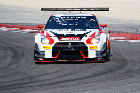nissan: Misano Adriatico, Italy - April 10, 2016: Nissan GT-R Nismo GT3 of Nissan GT Academy Team RJN Team, driven by Ricardo Sanchez and Sean Walkinshaw,  the Blancpain GT Series Sprint Cup in Misano World Circuit.