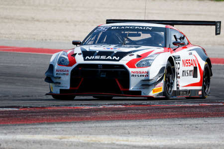 Misano Adriatico, Italy - April 10, 2016: Nissan GT-R Nismo GT3 of Nissan GT Academy Team RJN Team, driven by Ricardo Sanchez and Sean Walkinshaw,  the Blancpain GT Series Sprint Cup in Misano World Circuit.