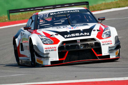 sean: Misano Adriatico, Italy - April 10, 2016: Nissan GT-R Nismo GT3 of Nissan GT Academy Team RJN Team, driven by Ricardo Sanchez and Sean Walkinshaw,  the Blancpain GT Series Sprint Cup in Misano World Circuit.