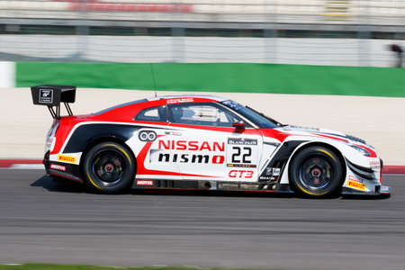 gt: Misano Adriatico, Italy - April 10, 2016: Nissan GT-R Nismo GT3 of Nissan GT Academy Team RJN Team, driven by Ricardo Sanchez and Sean Walkinshaw,  the Blancpain GT Series Sprint Cup in Misano World Circuit.