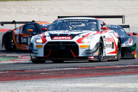 gt3: Misano Adriatico, Italy - April 10, 2016: Nissan GT-R Nismo GT3 of Nissan GT Academy Team RJN Team, driven by Buncombe and Mitsunori Takaboshi,  the Blancpain GT Series Sprint Cup in Misano World Circuit.