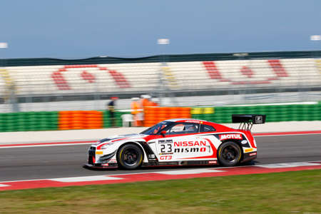 nissan: Misano Adriatico, Italy - April 10, 2016: Nissan GT-R Nismo GT3 of Nissan GT Academy Team RJN Team, driven by Buncombe and Mitsunori Takaboshi,  the Blancpain GT Series Sprint Cup in Misano World Circuit.
