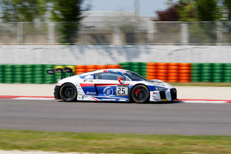 gt: Misano Adriatico, Italy - April 10, 2016: Audi R8 LMS of Sainteloc Racing Team, driven by Romain Monti and Edward Sandstrom,  the Blancpain GT Series Sprint Cup in Misano World Circuit.